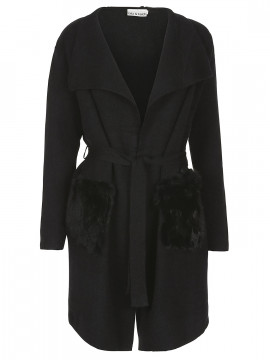 Gila & Feldt Kelly fuhr long cardigan - Black
