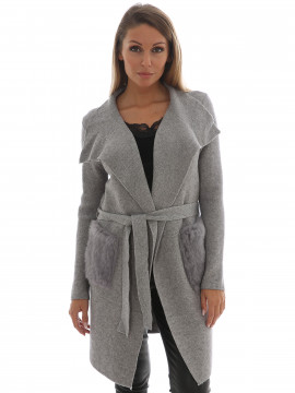 Gila & Feldt Kelly fuhr long cardigan - Grey