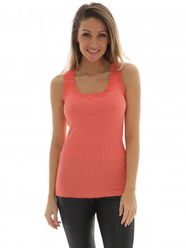 Soft Rebels Silk rib camisole - Coral