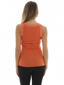 Soft Rebels Silk rib camisole - Orange