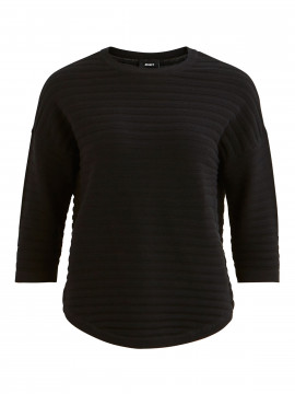 Object Morgan rib 3/4 pullover - Black