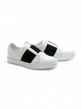Philip Hog Elastic leather sneakers - White / black