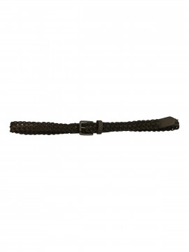 Black Colour Braid belt 2 cm. - Steel grey