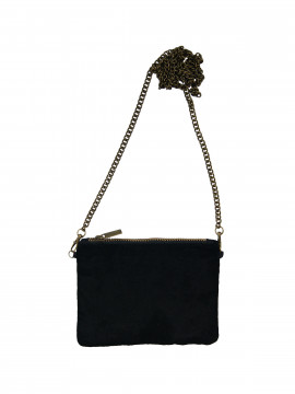 Black Colour Velvet mini clutch - Black