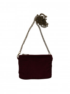 Black Colour Velvet mini clutch - Wine
