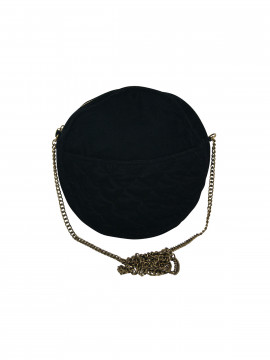 Black Colour Velvet round bag - Black