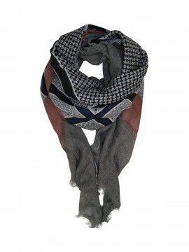 Black Colour Abby wool deluxe scarf - Grey