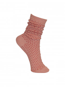 Black Colour Lurex dotted sock - Rosered