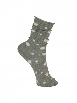 Black Colour Glitter dot sock - Greygold