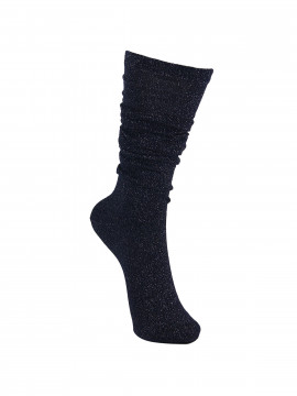 Black Colour Knee lurex sock - Navy