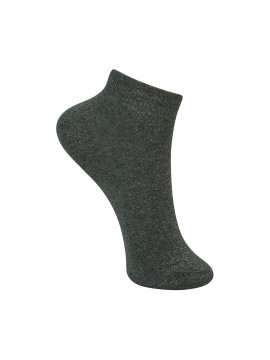 Black Colour Anclet glitter sock - Silvergrey