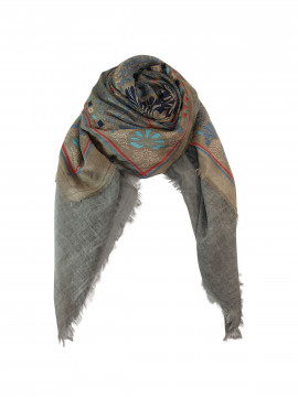 Black Colour Primerose deluxe scarf - Grey