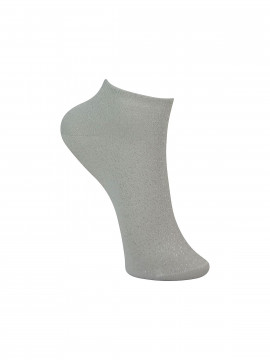 Black Colour Anclet glitter sock - White
