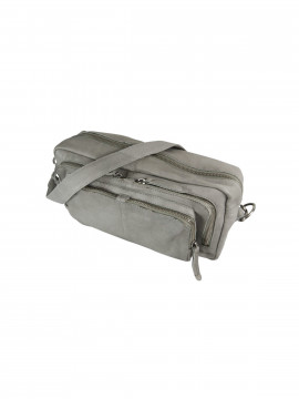 Black Colour Rock zipped bag - Light grey