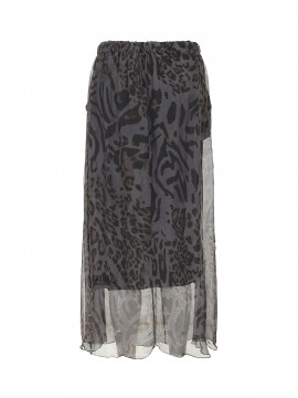 Black Colour Maxi Zebra skirt - Grey