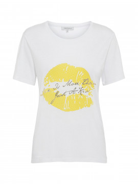 Continue Dea lip Tee - White / yellow