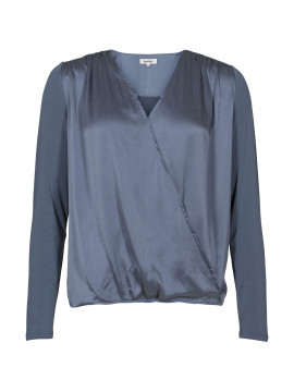 Blue on Blue Femme Flora silk X-top - Marine