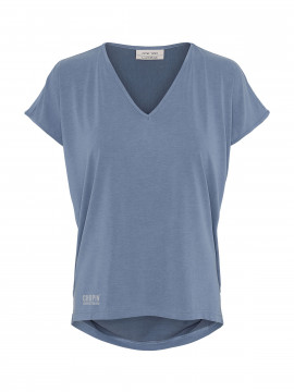 One Two Luxzuz Dunja Tee V-neck - Vintage blue